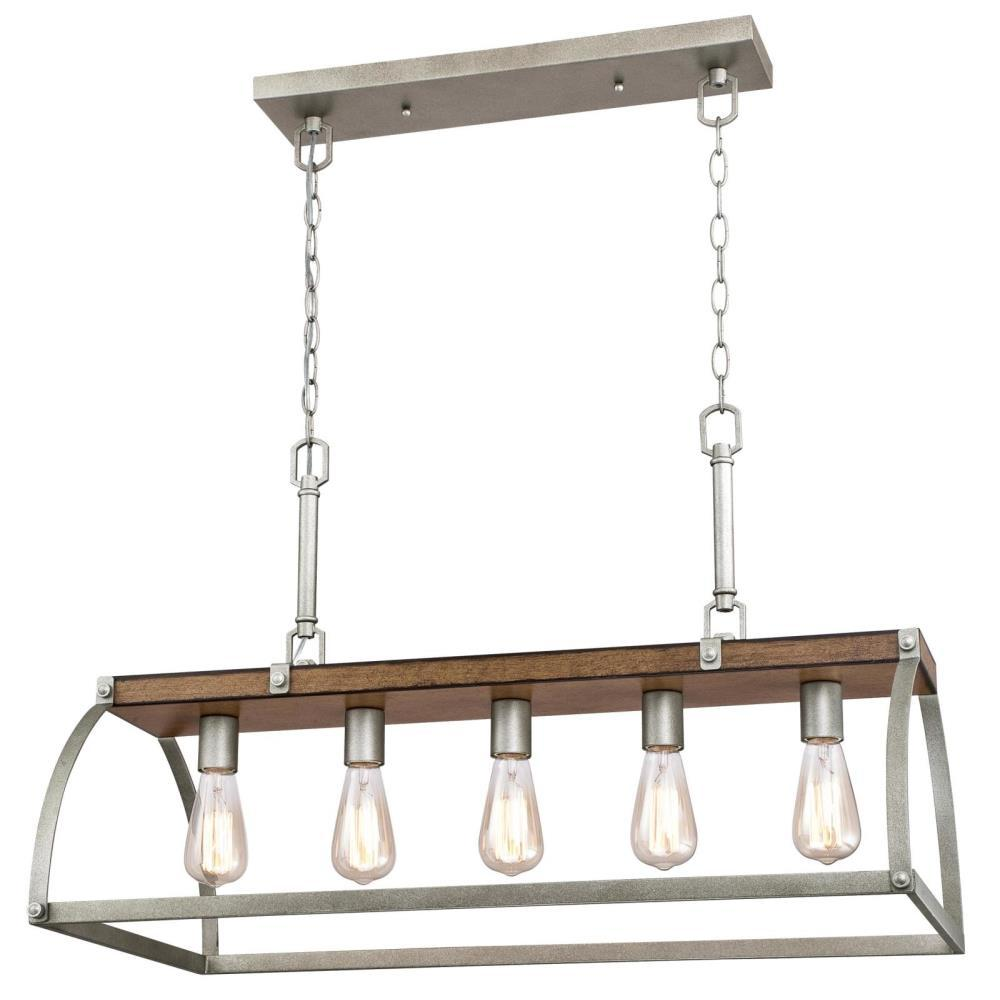 Westinghouse Oak Lane 5-Light Barnwood with Galvanized Steel Chandelier