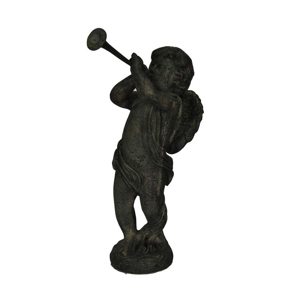 MPG 20-1/2 in. H Cast Stone Cherub with Flute in Special Aged Granite Finish