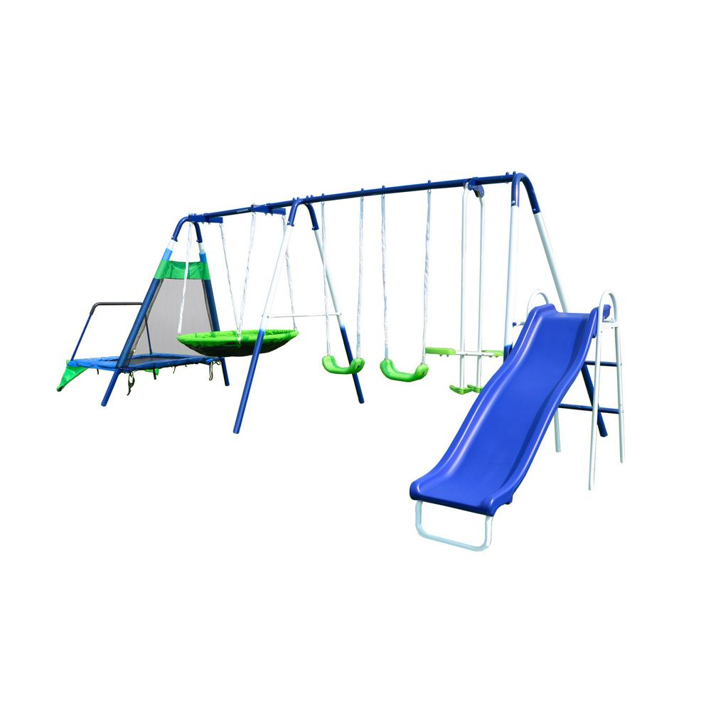 Sportspower Mountain View Metal Swing Slide And Trampoline Set Msc