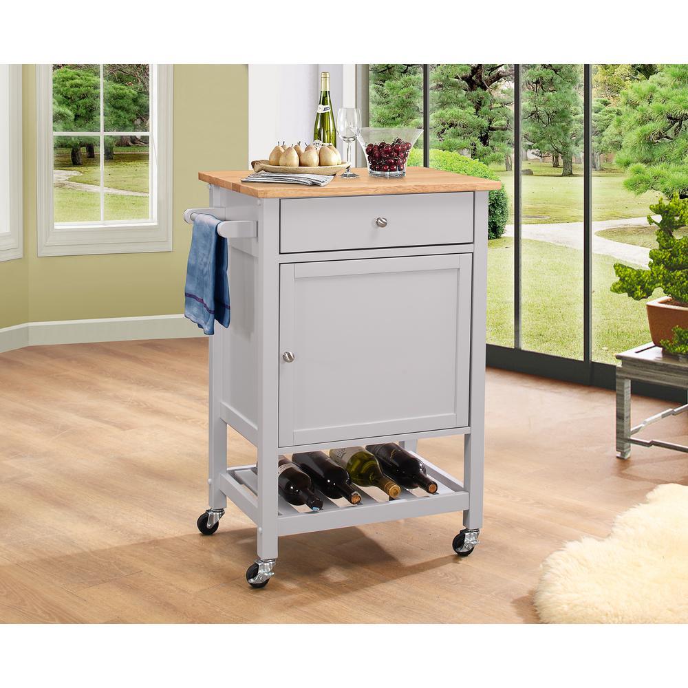 Hoogzen Natural and Gray Kitchen Cart