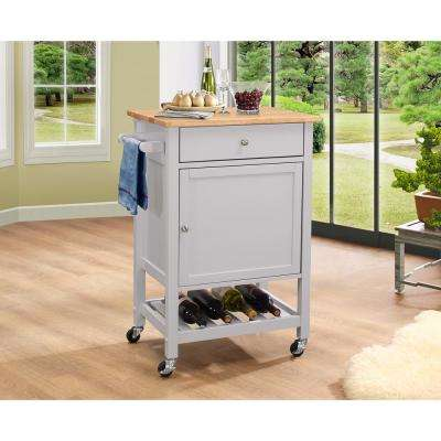Hoogzen Natural and Gray Kitchen Cart