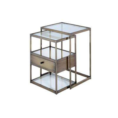 Enca 2-Pieces Clear Glass and Antique Brass Nesting Table