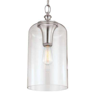 Hounslow 9 in. W. 1-Light Brushed Steel Pendant