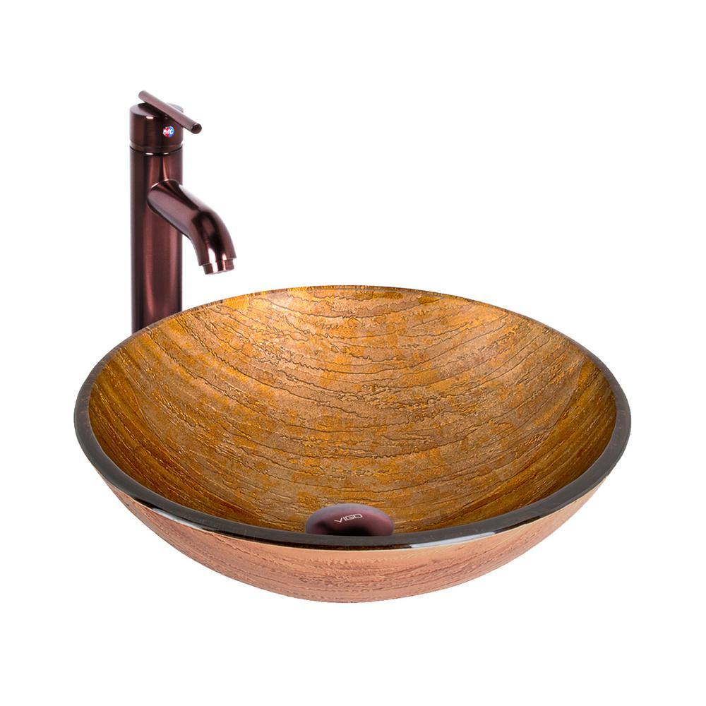 VIGO Amber Sunset Vessel Sink In Multicolor With Faucet In Oil Rubbed Bronze