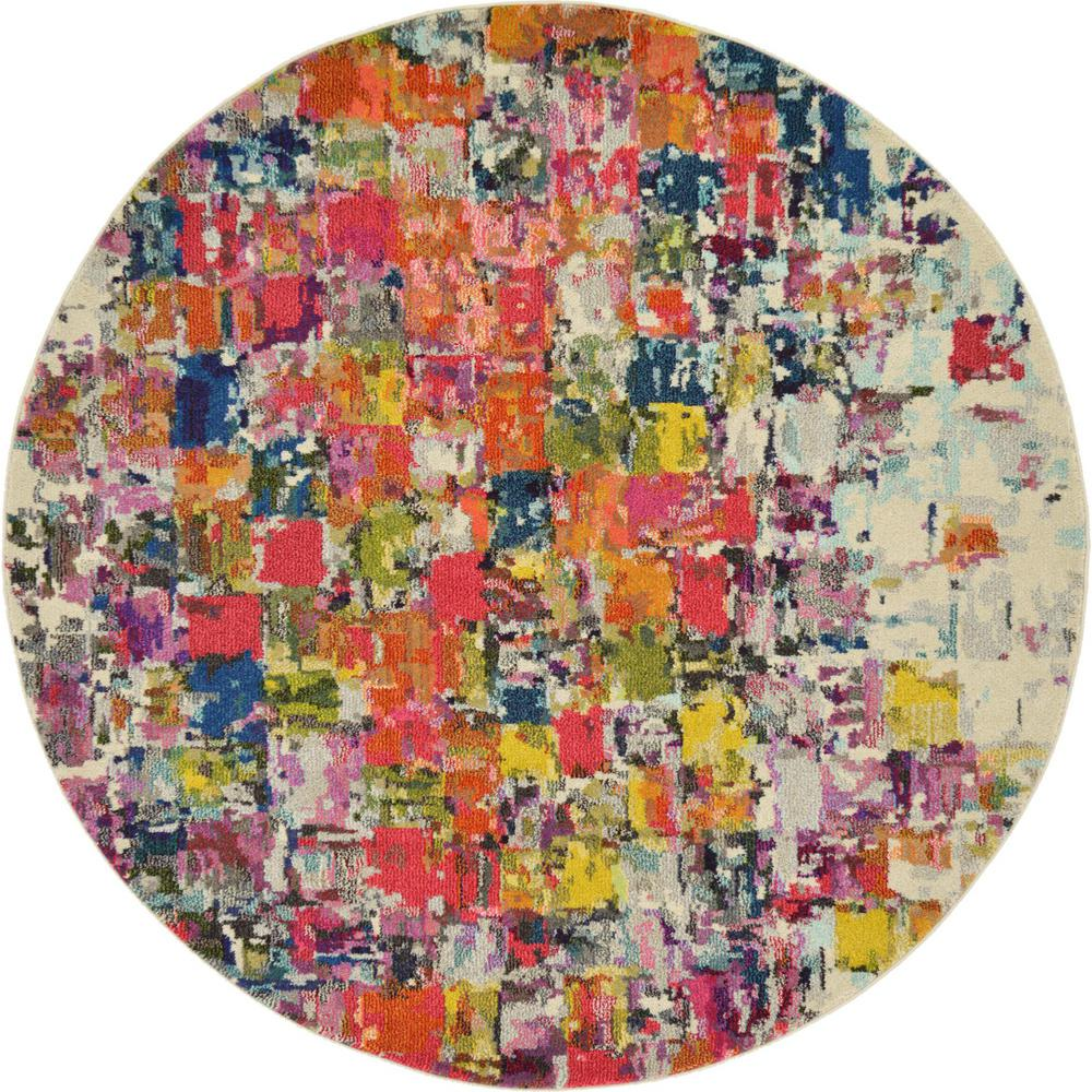 Barcelona Multi 6 ft. x 6 ft. Round Area Rug
