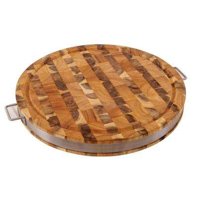 17.5 in. x 2 in. Thick Round Cutting Board with Stainless Steel Band with End Grain 2-Tone Pattern