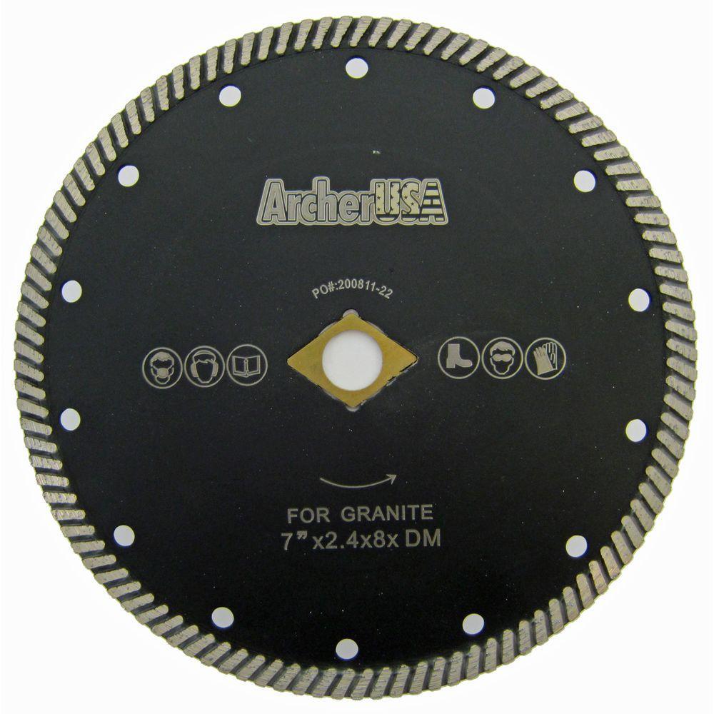 Archer PRO 4.5 in Stone Narrow Turbo Rim Diamond Blades for Cutting Granite Masonry Counter-top slabs