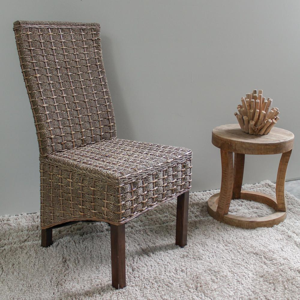 Bayu Salak Brown Banana and Seagrass Dining Chairs with Mahogany Hardwood