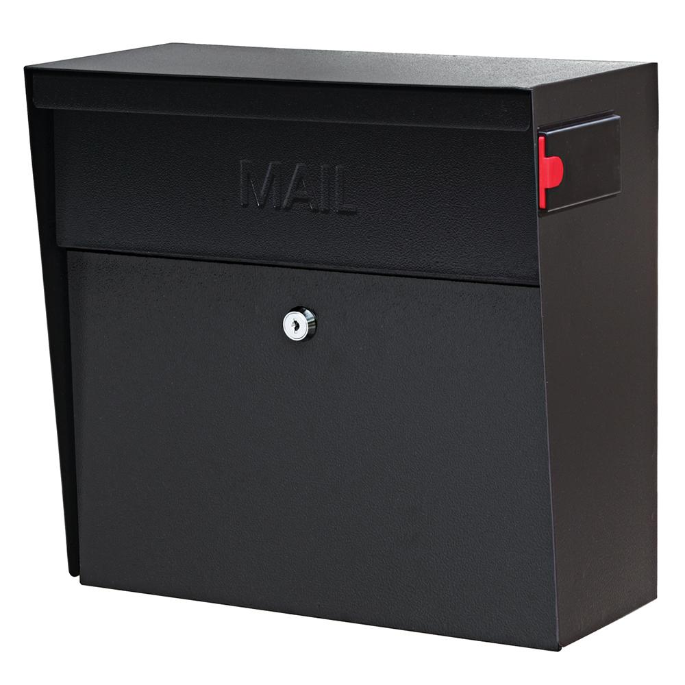 Metro Locking Wall-Mount Mailbox with High Security Patented Lock, Black