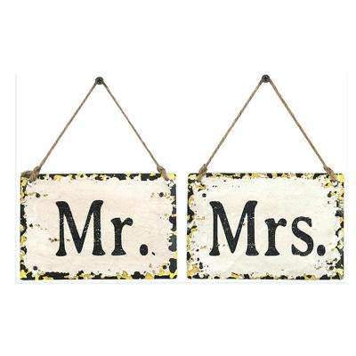 """4 in. H x 6 in. W """" Mr. and Mrs."""" Wall Art (Set of 2)"""