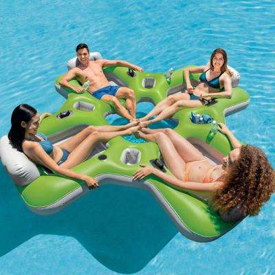 Green PVC 4-Seat Lounge Island Inflatable Pool Float Raft