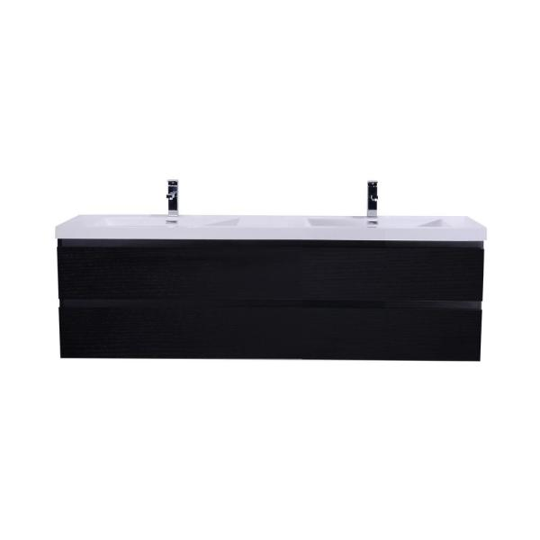 Bohemia 72 in. W Bath Vanity in Rich Black with Reinforced Acrylic Vanity Top in White with White Basins