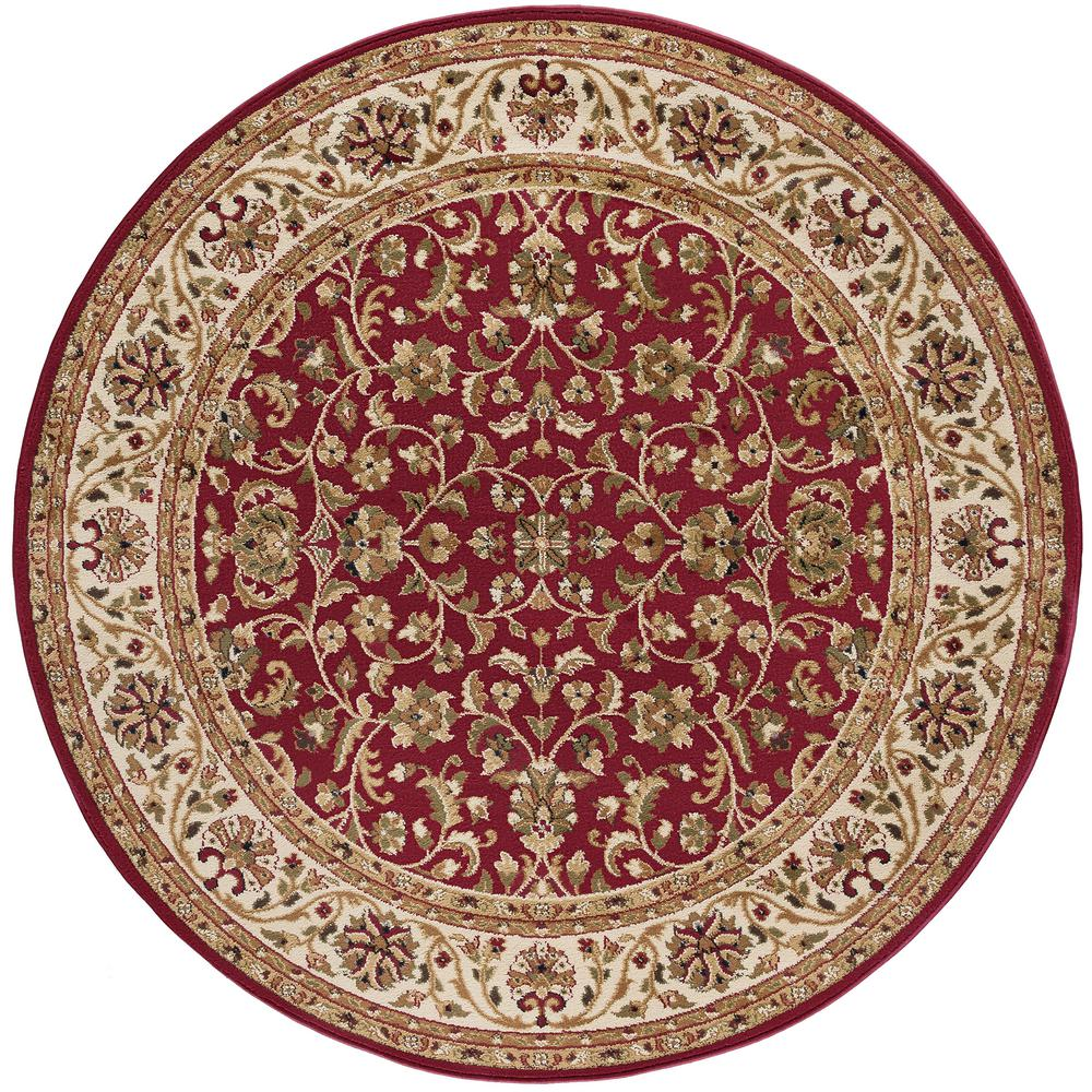 Tayse Rugs Sensation Red 5 ft. Round Transitional Area Rug