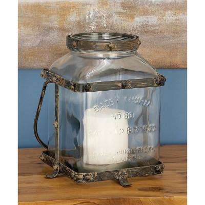 Farmhouse Rustic Glass and Metal Candle Lantern