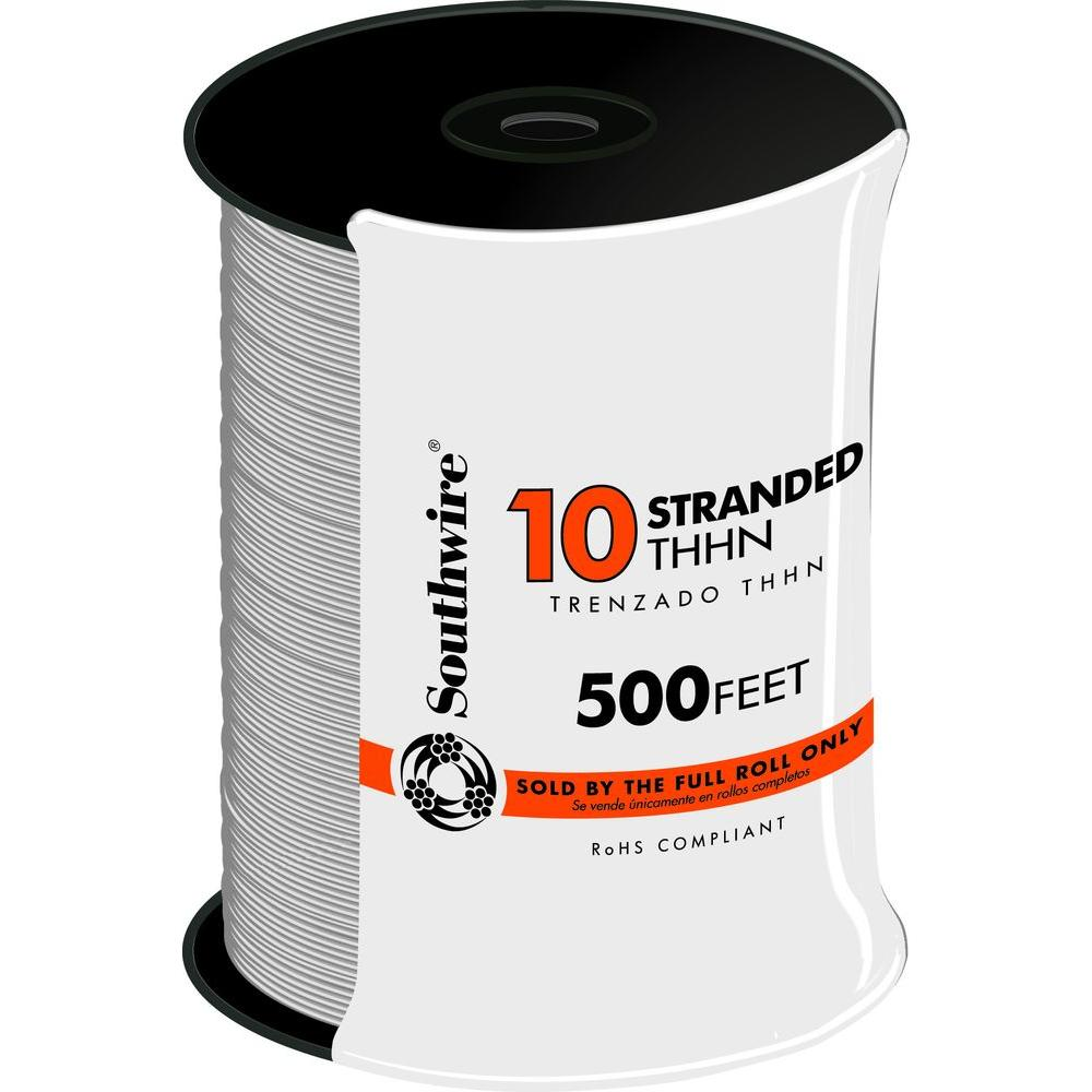 Southwire 500 ft. 10 White Stranded CU THHN Wire