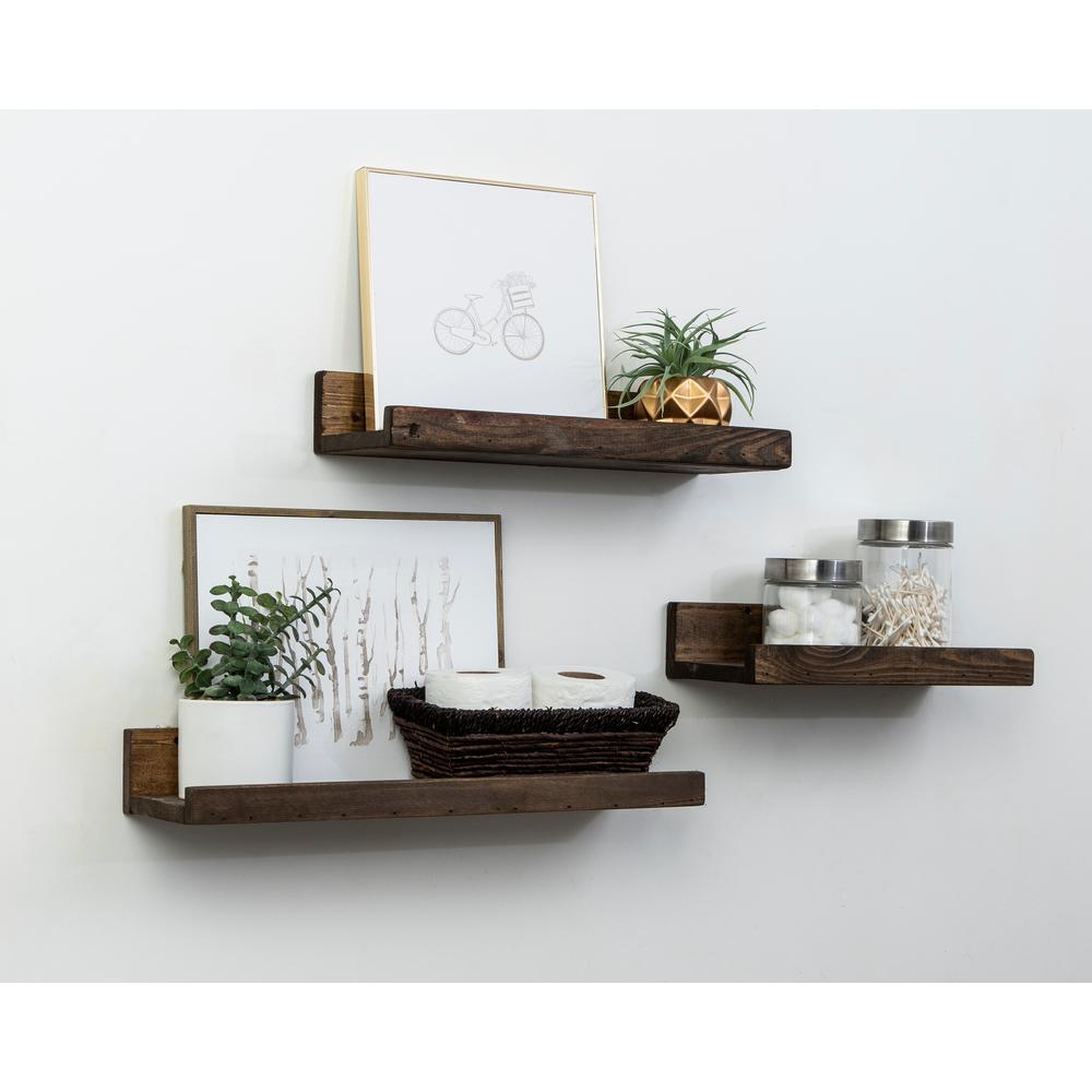Rustic Luxe 7 In Depth Dark Walnut Pine Wood Floating Decorative Wall Shelf Set