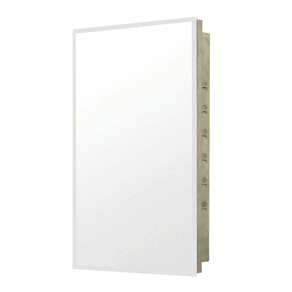 16 in. W x 26 in. H Frameless Stainless Steel Recessed Mount Bathroom Medicine Cabinet