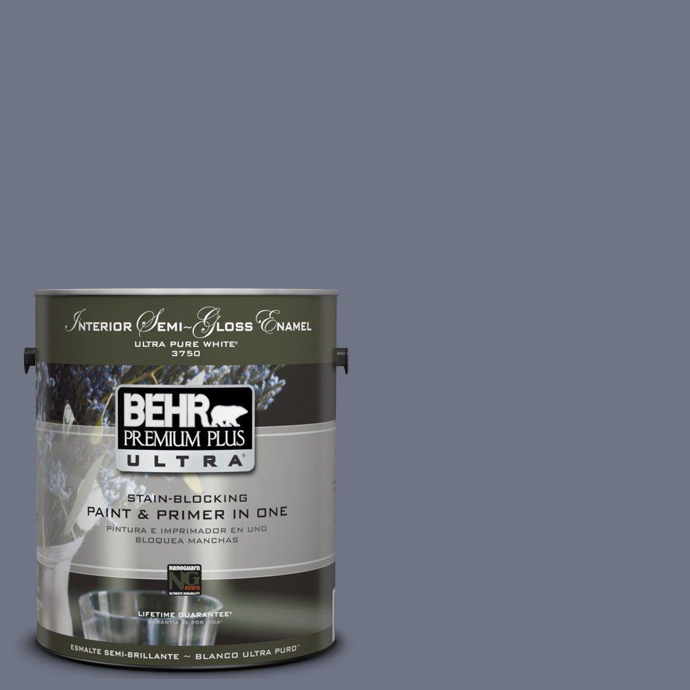 BEHR Premium Plus Ultra 1-gal. #UL240-4 Lunar Shadow Interior Semi-Gloss Enamel Paint