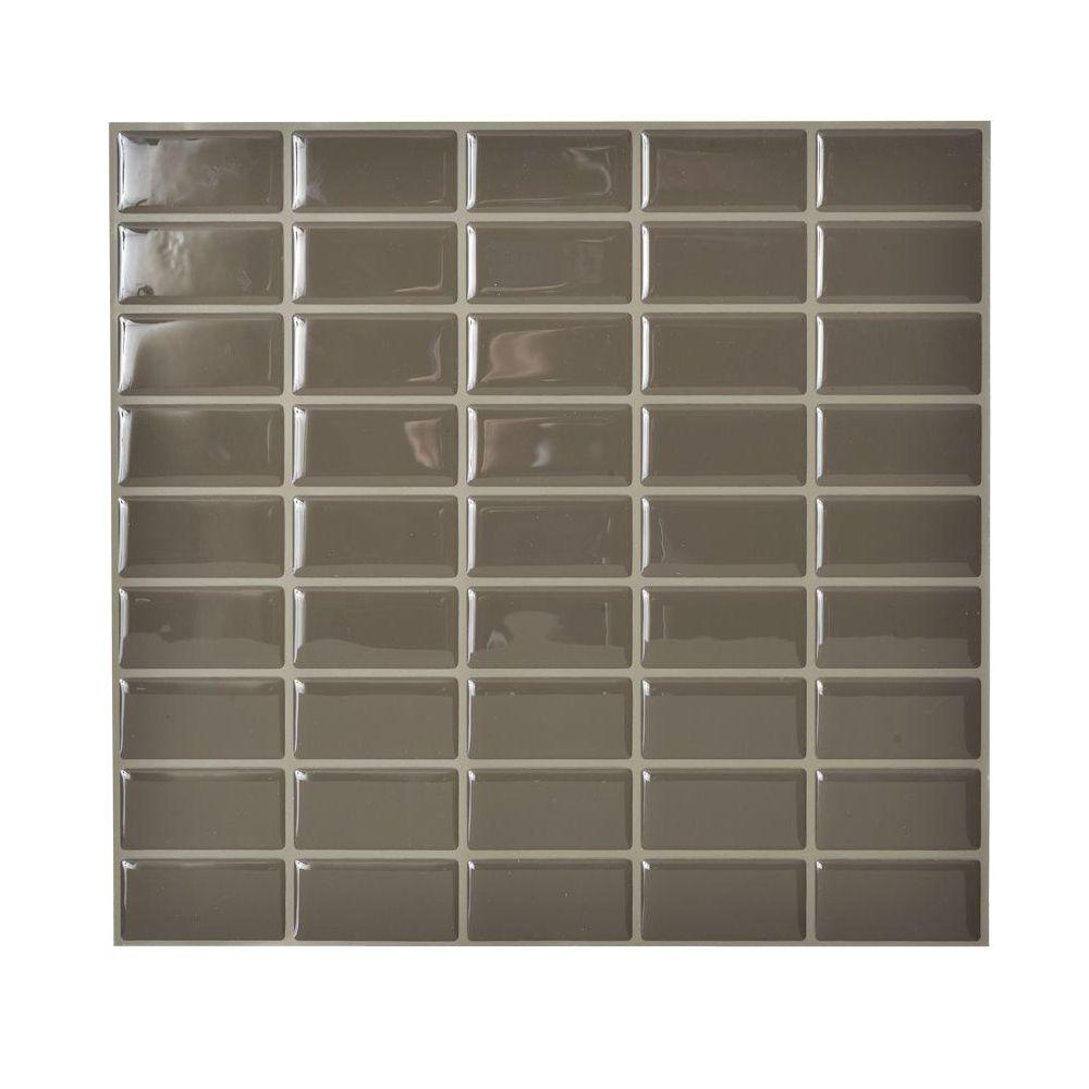 Smart Tiles 10.625 in. x 10.00 in. Adhesive Decorative Wall Tile Backsplash in Java