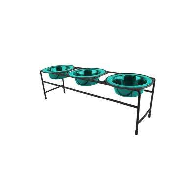 .75 Cup Triple Modern Diner Feeder with Cat/Puppy Bowls, Caribbean Teal