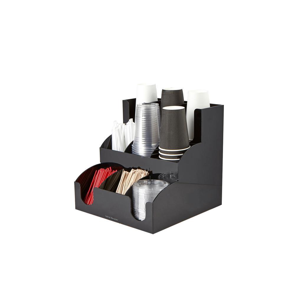 9-Compartment Acrylic Condiment Organizer in Black