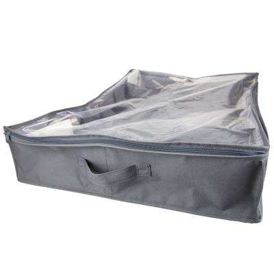 600D Gray 12-Pair Polyester Under-the-Bed Shoe Organizer