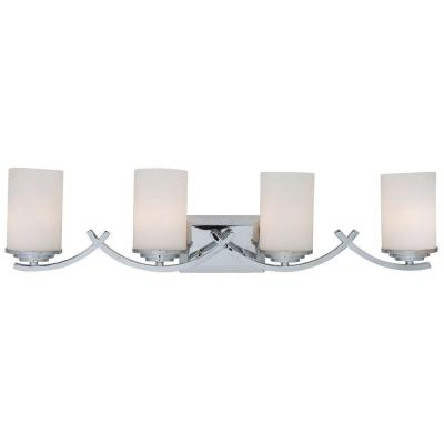 Vanity Lighting Family 4-Light Chrome Bathroom Vanity Light with White Glass Shade