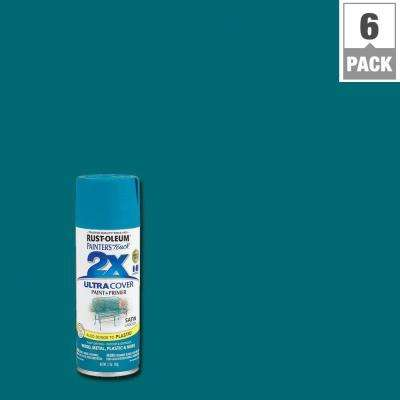 12 oz. Lagoon Satin General Purpose Spray Paint (6-Pack)