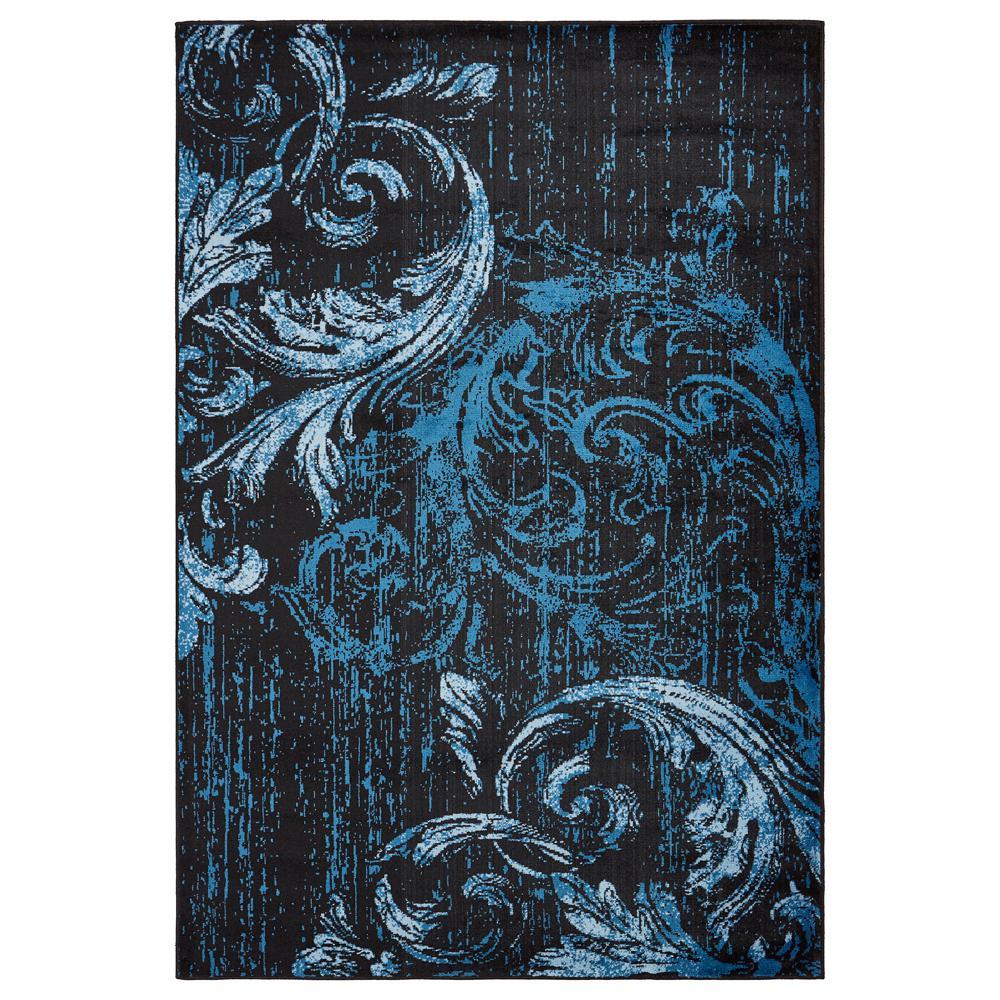 Infinity Black / Soft Blue 5 ft. x 7 ft. Rectangle Indoor Area Rug