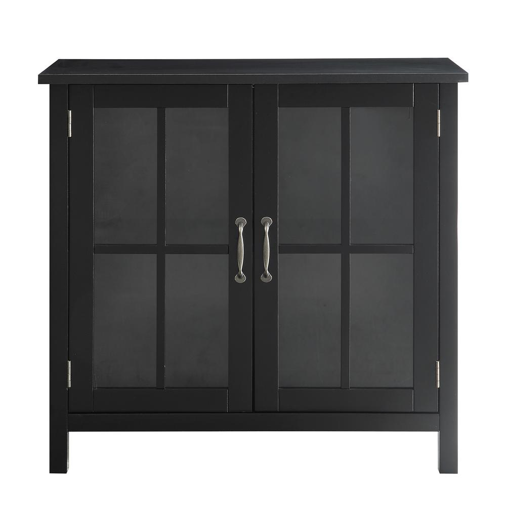 USL Olivia Black Accent Cabinet and 2-Glass Doors