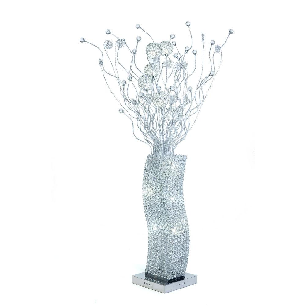 silver floor lamp with all crystals and cool white