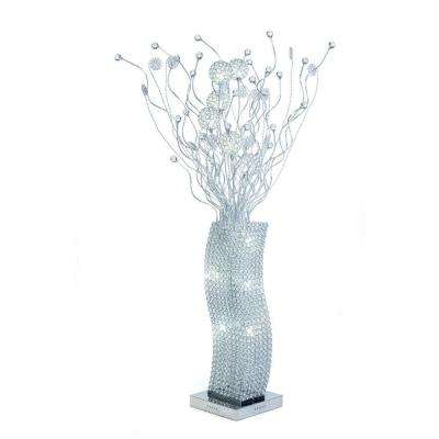 72 in. Silver Floor Lamp with All Crystals Item-Pictured and Cool White LED Bulbs