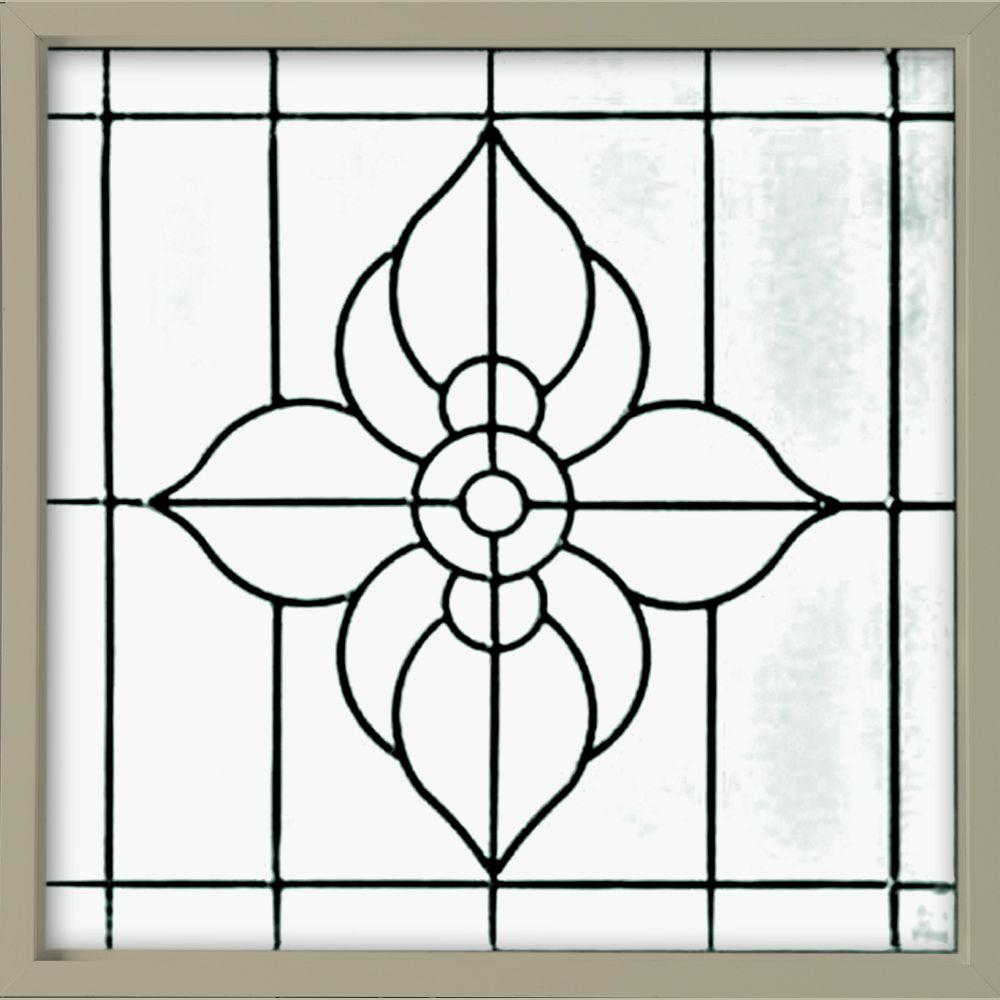 Hy-Lite 25 in. x 25 in. Decorative Glass Fixed Vinyl Glass Block Window in Tan