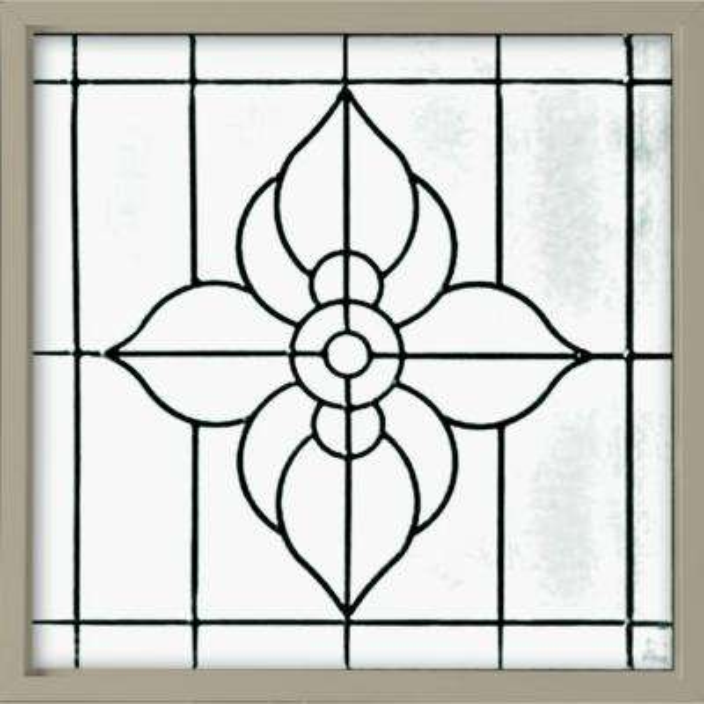 25 in. x 25 in. Decorative Glass Fixed Vinyl Window - Tan