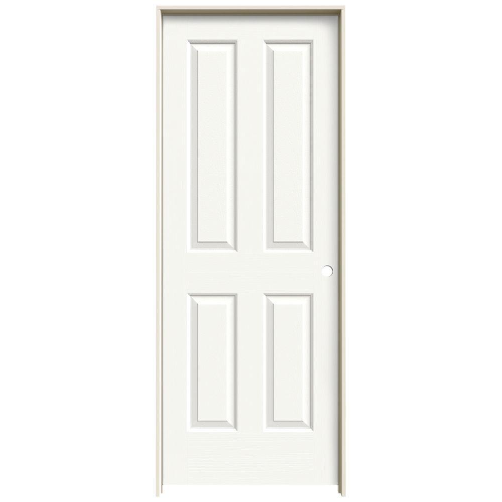 JELD-WEN Textured 4-Panel Painted Molded Single Prehung Interior Door