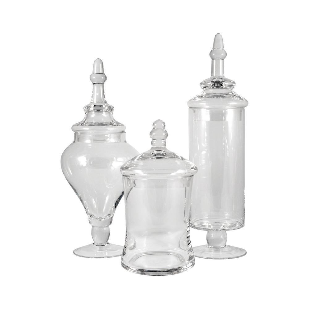 Titan Lighting Aris 14 in., 13 in. and 9 in. Clear Glass Decorative Apothecary Jars (Set of 3)