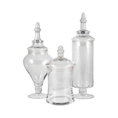 Aris 14 in., 13 in. and 9 in. Clear Glass Decorative Apothecary Jars (Set of 3)