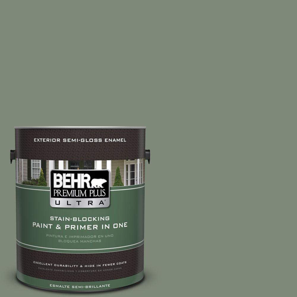 1-gal. #450F-5 Amazon Moss Semi-Gloss Enamel Exterior Paint