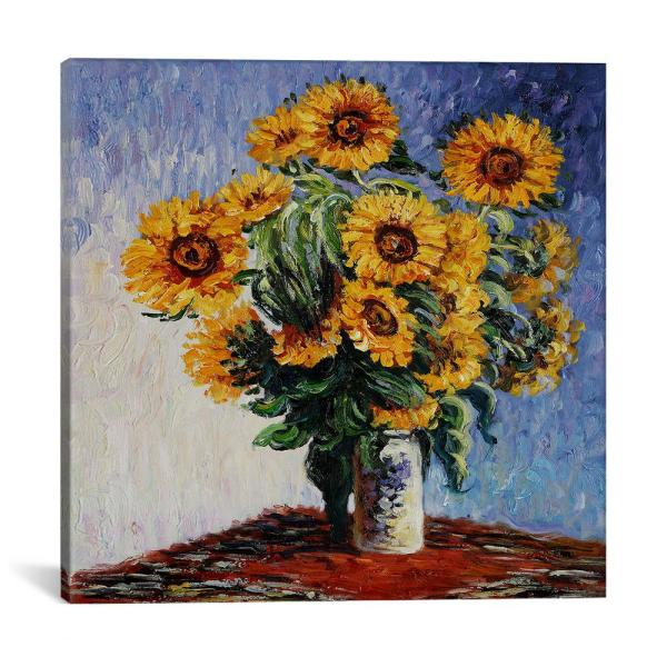 iCanvas ''Sunflowers'' by Claude Monet Canvas Wall Art 1309-1PC3-18x18