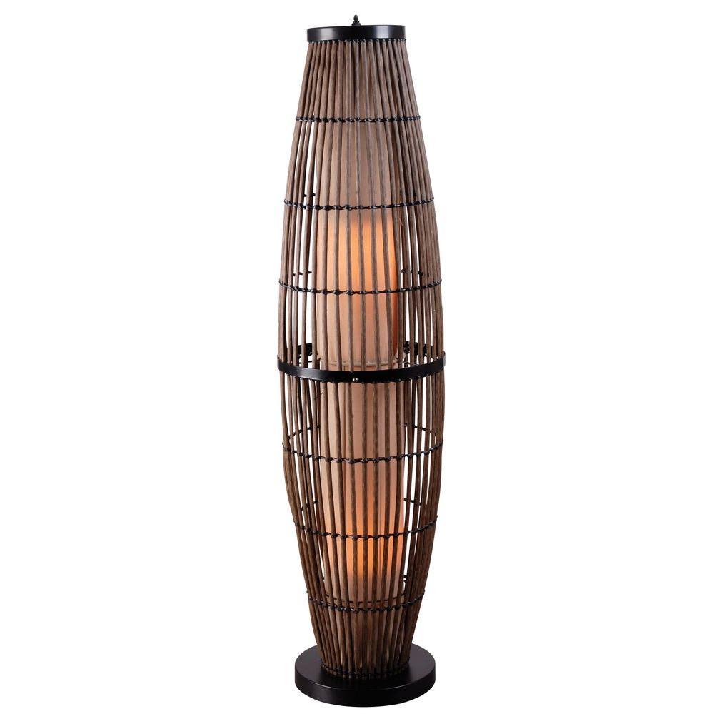 kenroy home biscayne 51 in rattan outdoor floor lamp. Black Bedroom Furniture Sets. Home Design Ideas