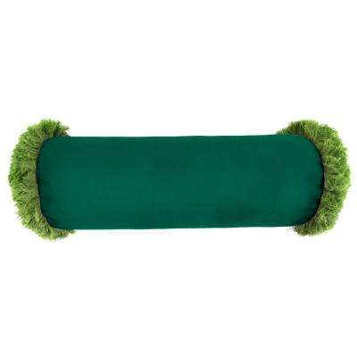 Sunbrella 7 in. x 20 in. Canvas Forest Green Bolster Outdoor Pillow with Gingko Fringe
