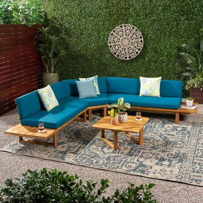 Mirabelle Teak Brown 4-Piece Wood Patio Conversation Sectional Seating Set with Dark Teal Cushions