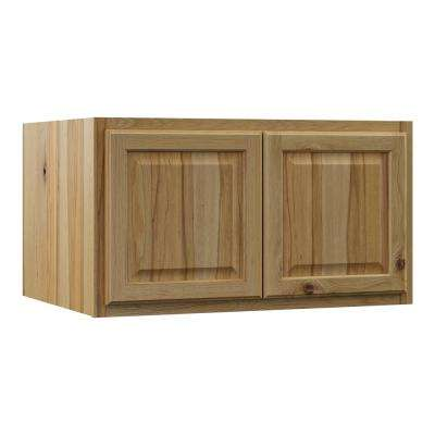 Hampton Assembled 36x18x24 in. Above Refrigerator Deep Wall Bridge Kitchen Cabinet in Natural Hickory