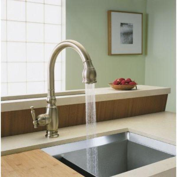 Kohler Vinnata Single Handle Pull Down Sprayer Kitchen Faucet In Vibrant Brushed Bronze K 690 Bv The Home Depot