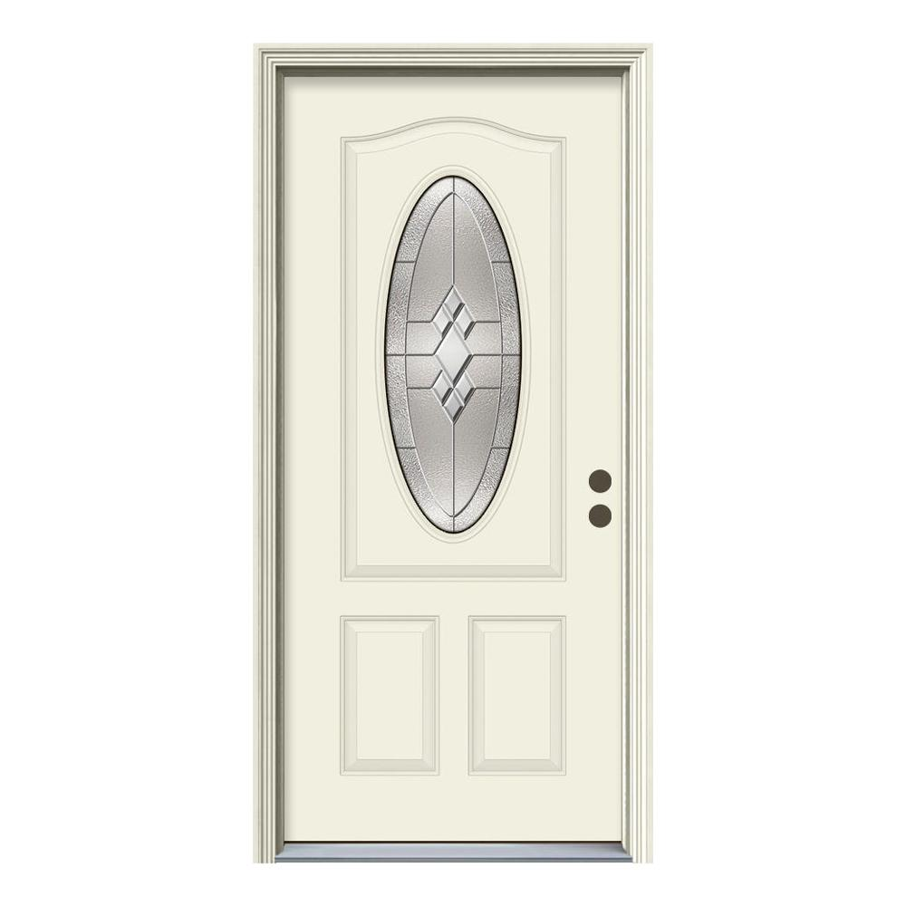 3/4 Oval Lite Kingston  sc 1 st  The Home Depot & JELD-WEN 36 in. x 80 in. 3/4 Oval Lite Kingston Primed Steel ... pezcame.com