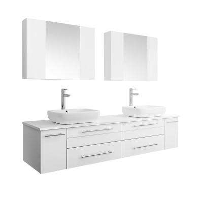 Lucera 72 in. W Wall Hung Vanity in White with Quartz Stone Vanity Top in White with White Basins and Medicine Cabinet