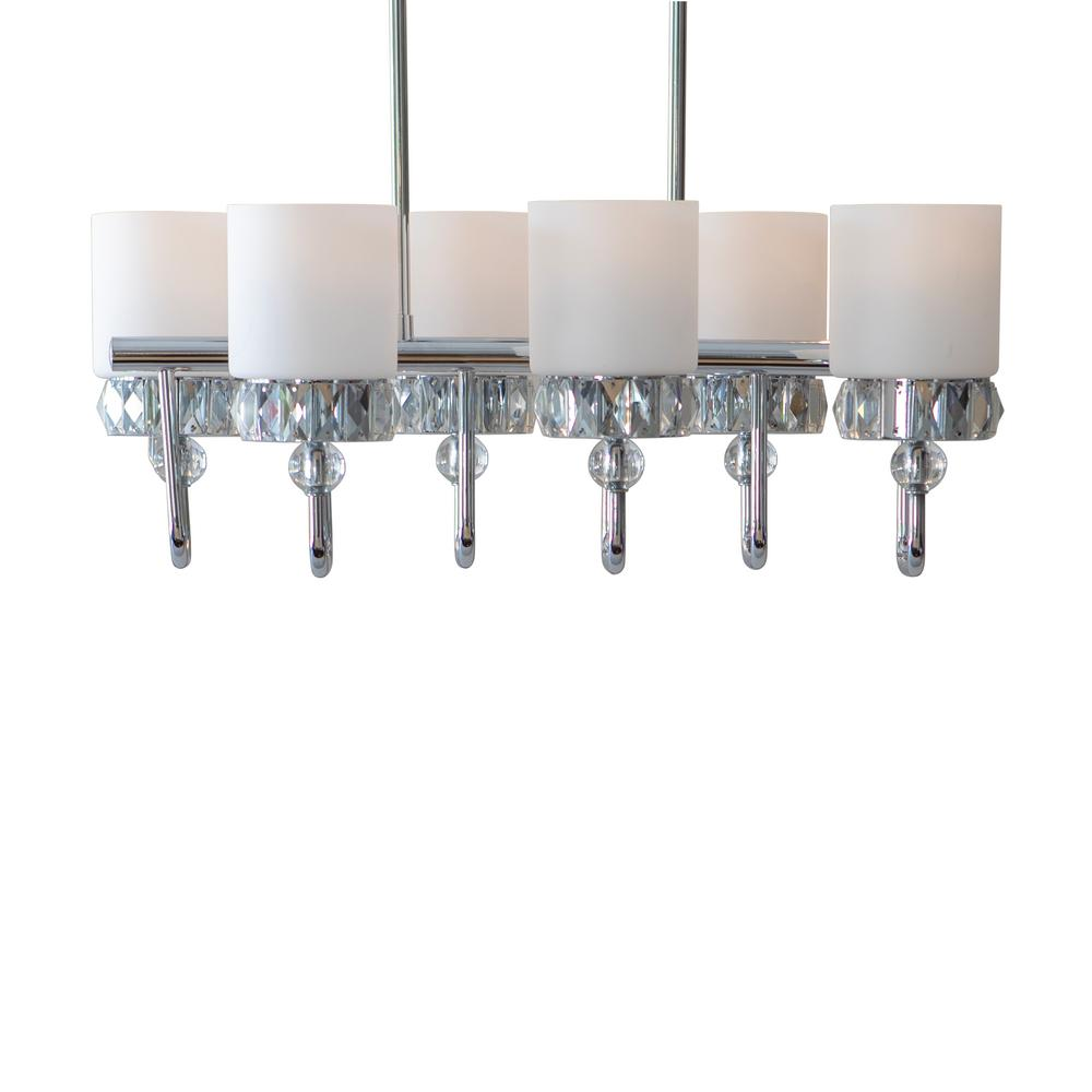 Decor Therapy Cora 6-Light Chrome, Crystal and Glass Trestle Chandelier