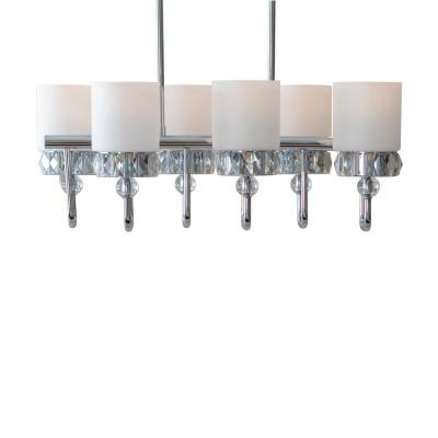 Cora 6-Light Chrome, Crystal and Glass Trestle Chandelier