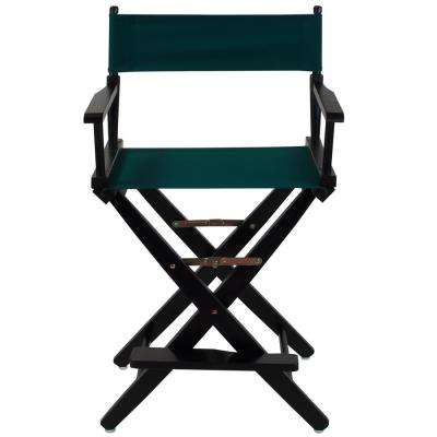 Extra-Wide 24 in. Black Frame/Hunter Green Canvas American Hardwood Directors Chair