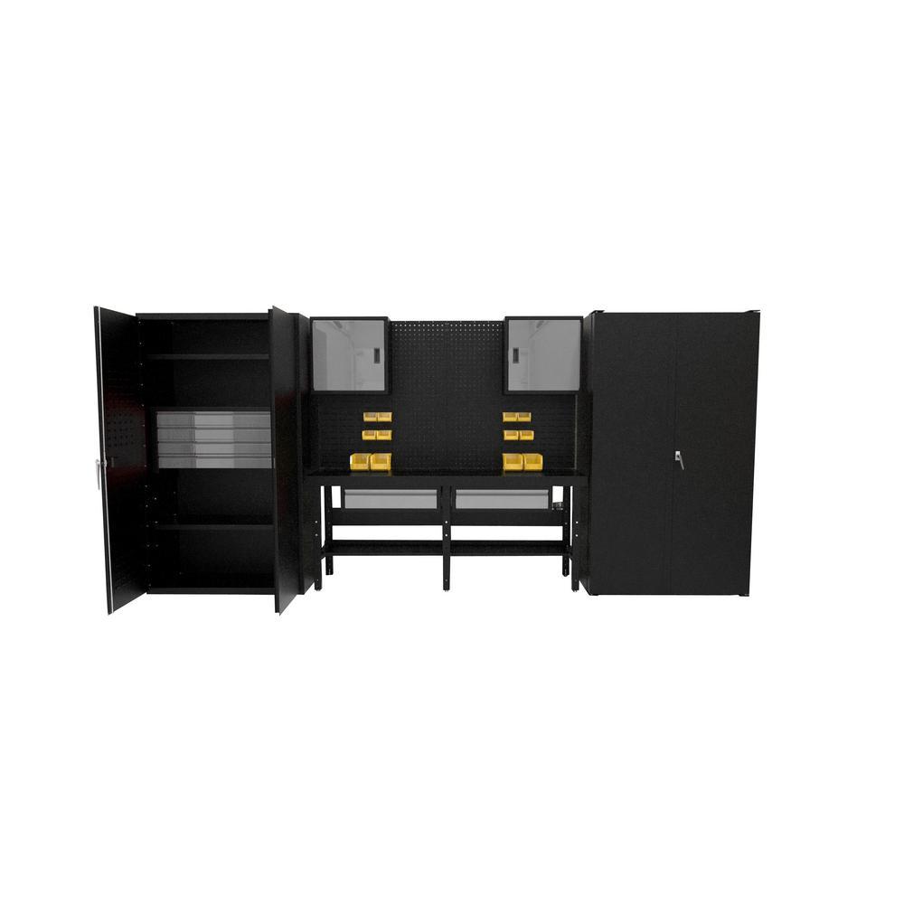 Suite E 84 in. H x 180 in. W x 24 in. D Steel Garage Cabinet Set in Black/Silver (15-Piece)